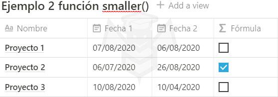 Notion funcion smaller()
