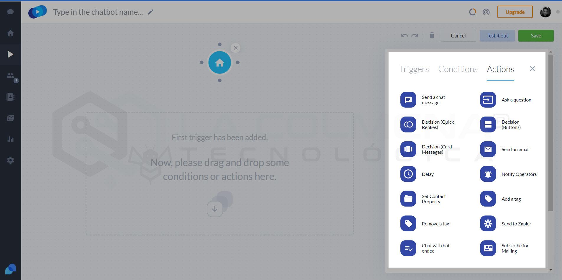 Nodos de accion para chatbots de Tidio