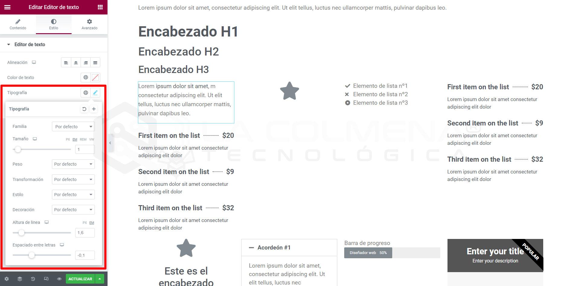 Caja de Tipografía de los widgets de Elementor