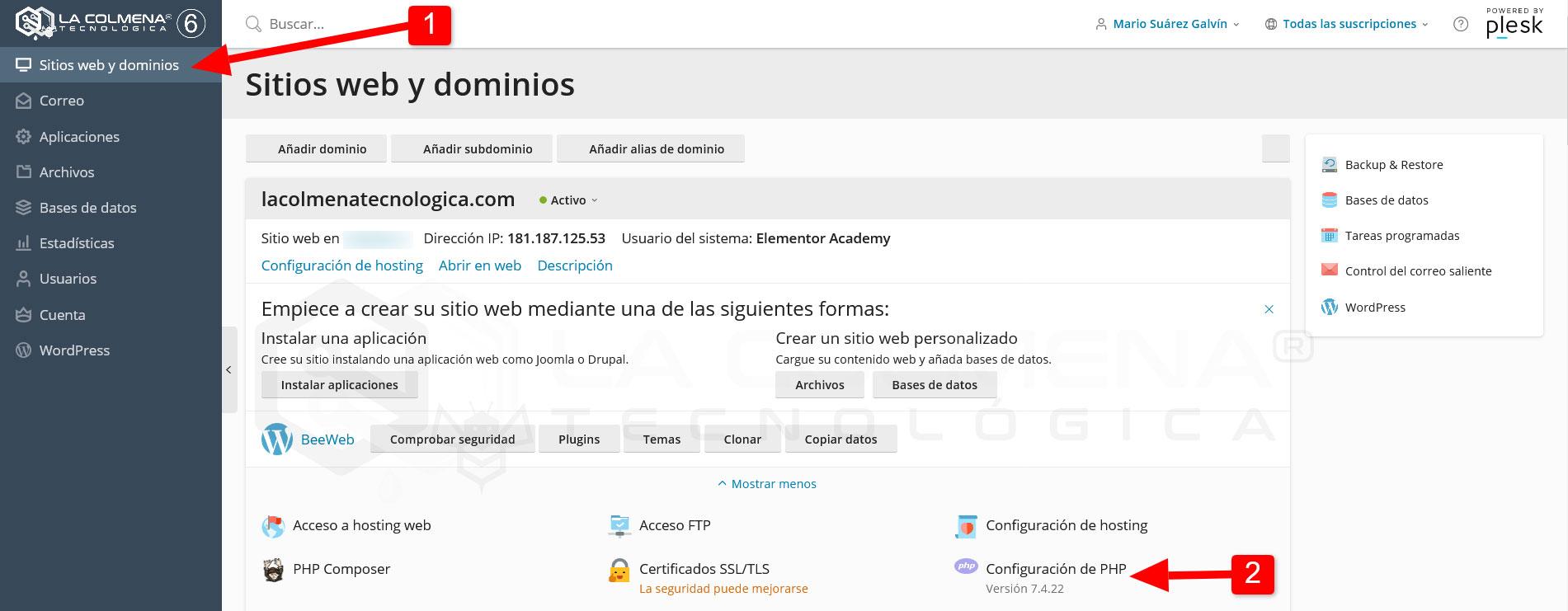 Plesk - Sitios web y dominios