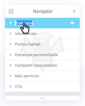 Navigator Elementor - Doble clic en nombre
